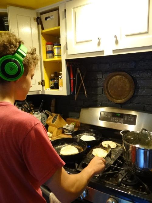 cooking parathas